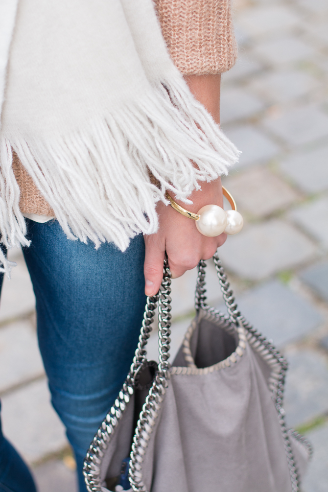 Camel Sweater, Light Scarf, Mirrored Glasses