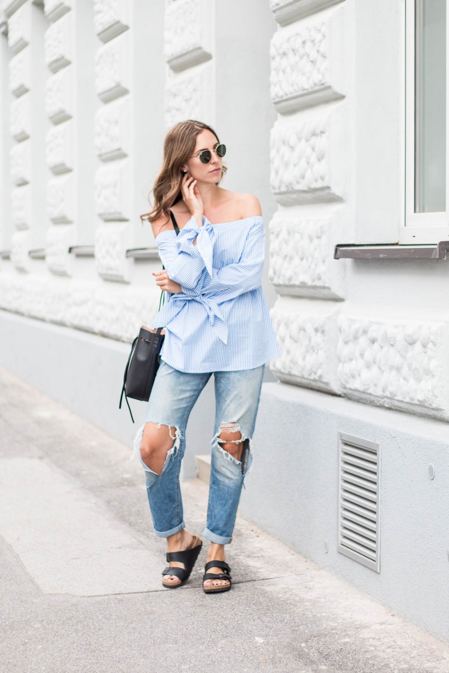 Striped Off Shoulder Top, Ripped Jeans, Birkenstocks