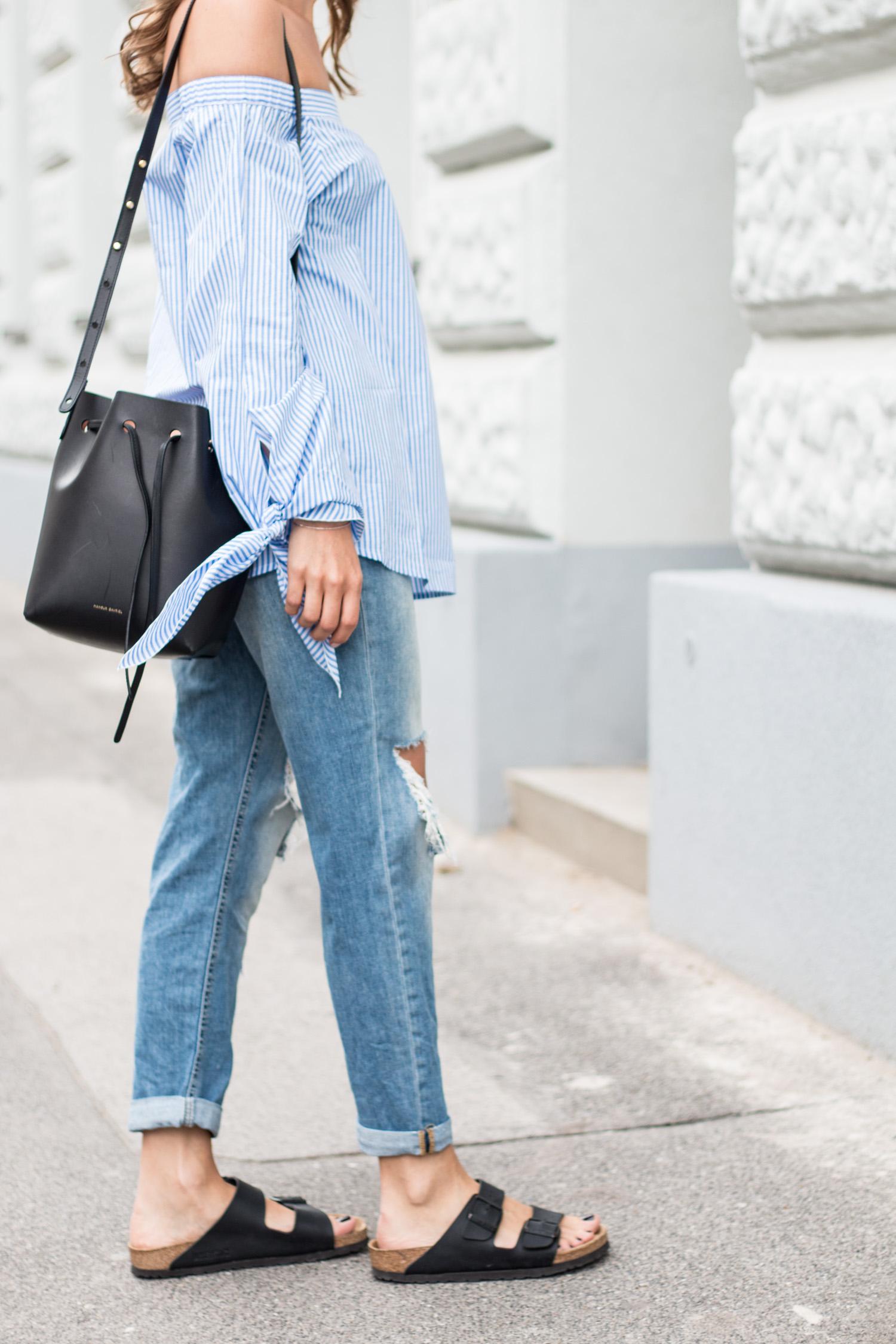 Striped Off Shoulder Top, Ripped Jeans, Birkenstocks